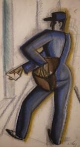 A postas 1931 Parizs szen, kreta, papir