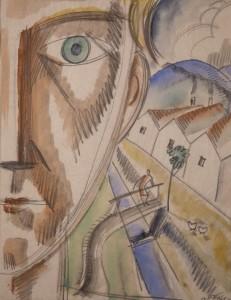 Negyed onarckep 1930 Parizs ceruza, akvarell, papir
